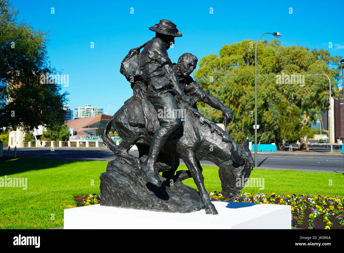 ADELAIDE, SOUTH AUSTRALIA - APRIL 28, 2017: The legendary Simpson and his donkey ANZAC memorial statue situated - Stock Image