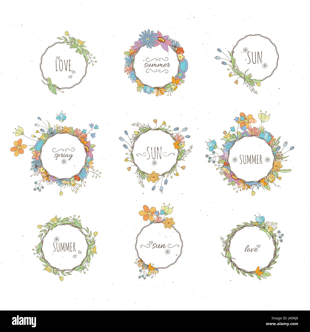 Rustic Hand Drawn Flower Elements Set Vector Floral Doodles Branches Flowers Laurels And Frames Border Collection For Greeting Cards Invitati