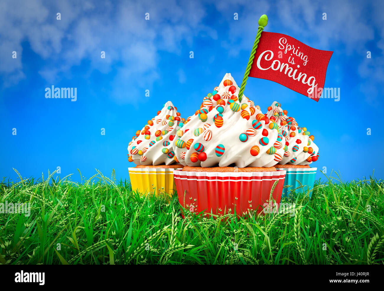 3D Rendering of Colorful Cupcakes in Grass, Easter Theme Stock Photo