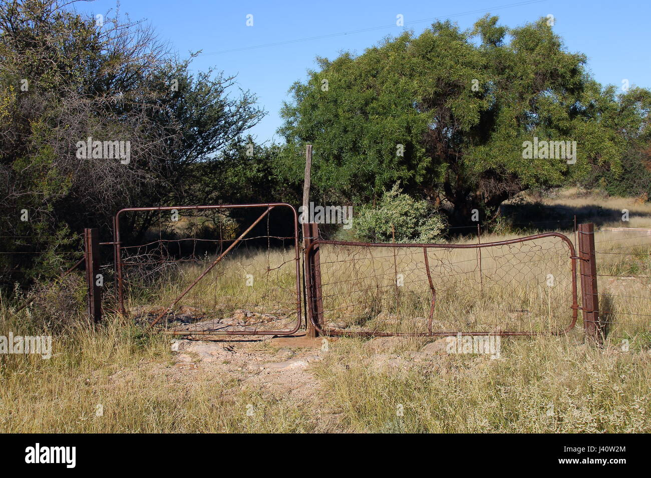 An old rusted and weathered metal gate stands closed in a field - Stock Image