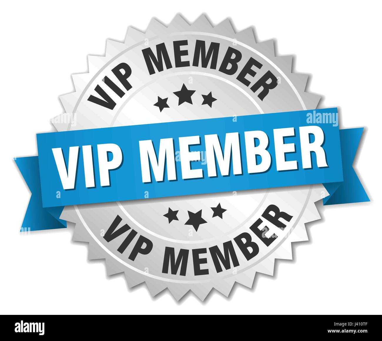 vip member round isolated silver badge - Stock Image