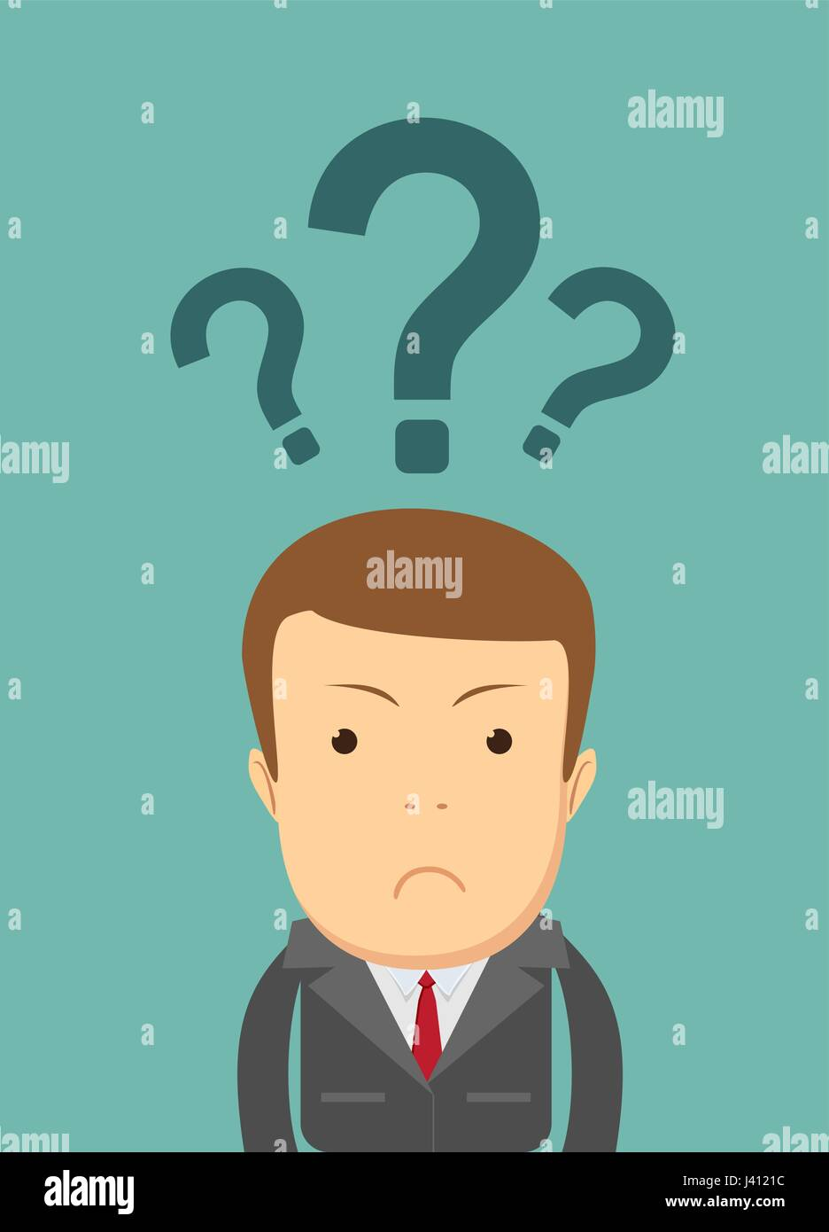 Businessman with question mark over his head - Stock Vector