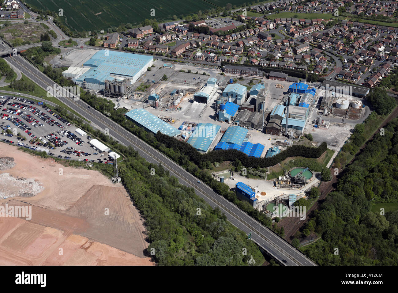 aerial view of BYK Additives factory in Widnes, Cheshire, UK - Stock Image