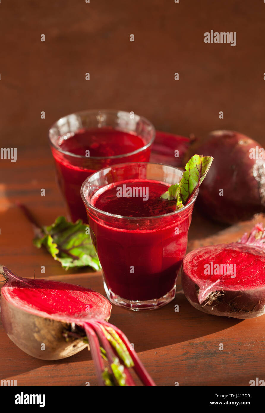 fresh healthy beetroot juice and vegetable - Stock Image