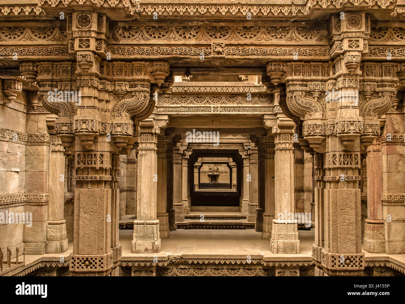 Adalaj stepwell - Indian Heritage tourist place, ahmedabad, gujarat - Stock Image