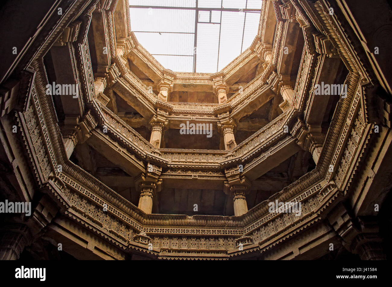 Adalaj stepwell from bottom to top view- Indian Heritage tourist place - Stock Image