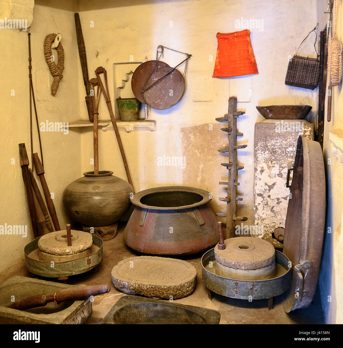 Ancient kitchen utensils - udaipur, rajasthan, gujarat, india - Stock Image