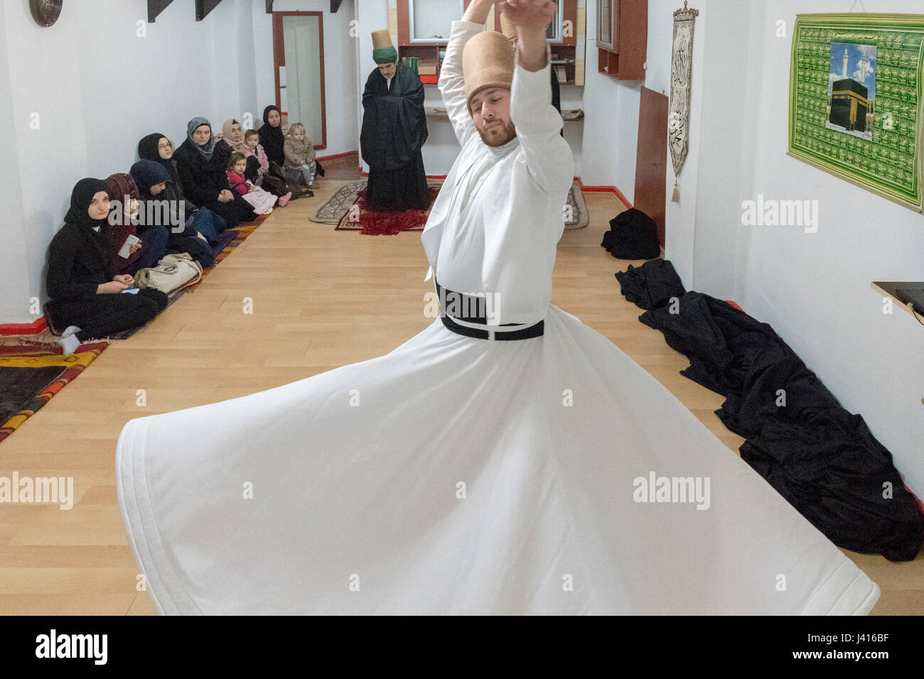 Dervish Whirling at Yaqup Baba of Fatih, Istanbul, TURKEY -  18/12/2016. In Istanbul's neighbourhood of Fatih, Yakup - Stock Image