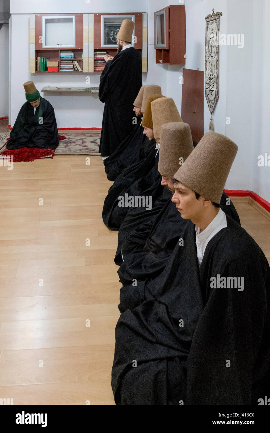 Dervishes during Sema at Yaqup Baba of Fatih, Istanbul, TURKEY -  18/12/2016. In Istanbul's neighbourhood of Fatih, - Stock Image