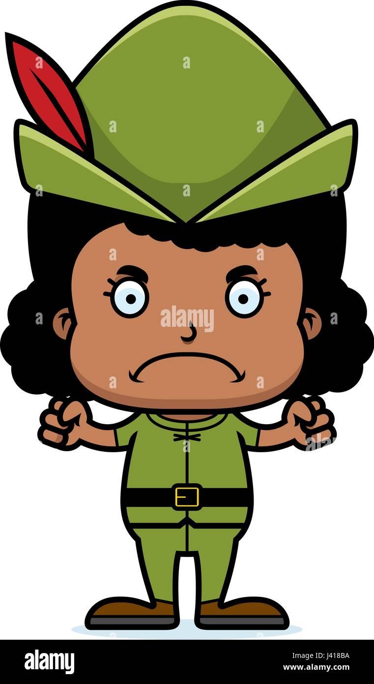 c32b2e18d31 A cartoon Robin Hood girl looking angry. - Stock Vector