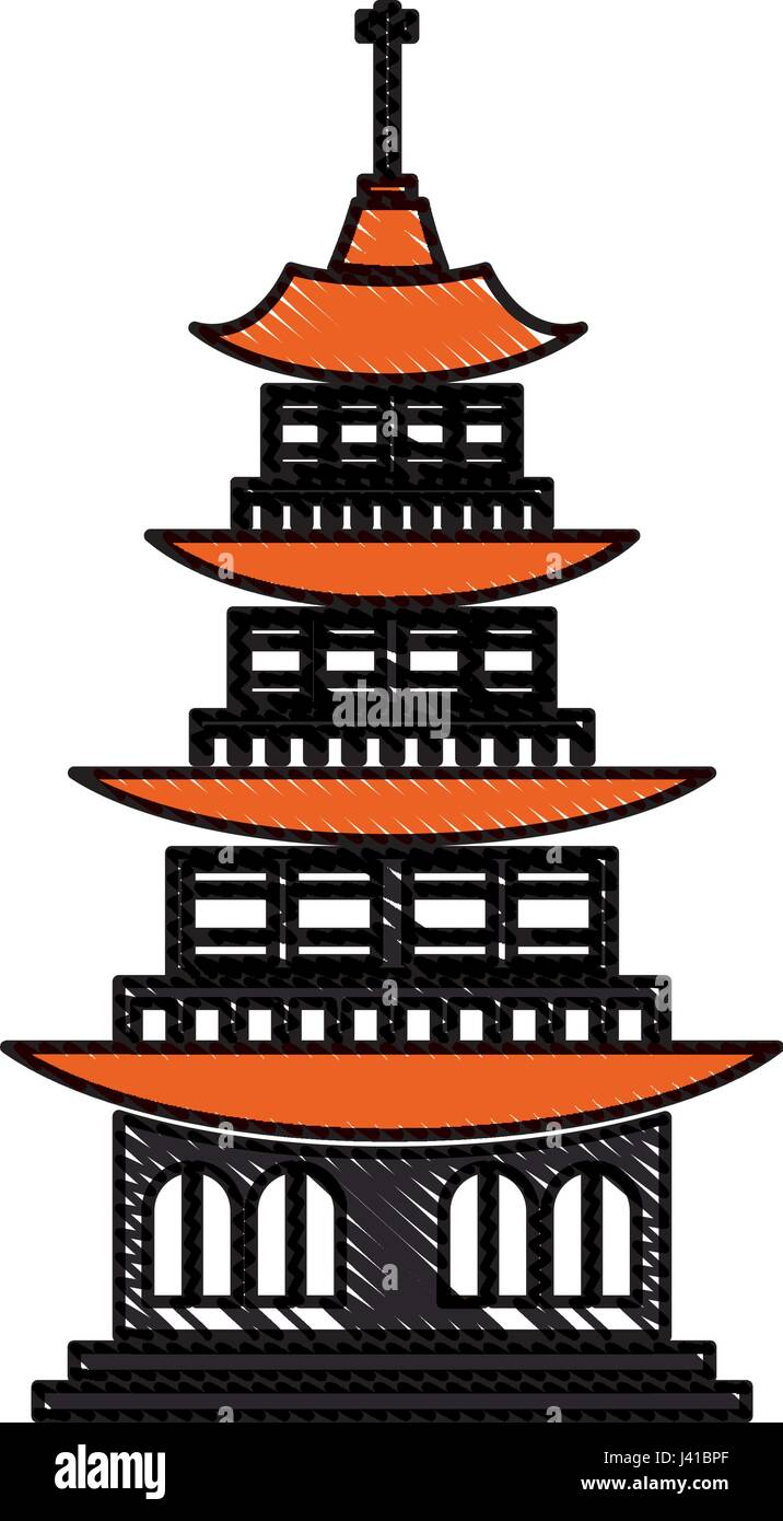 Drawing Chinese Building Ancient Temple Tower Pagoda Stock Vector