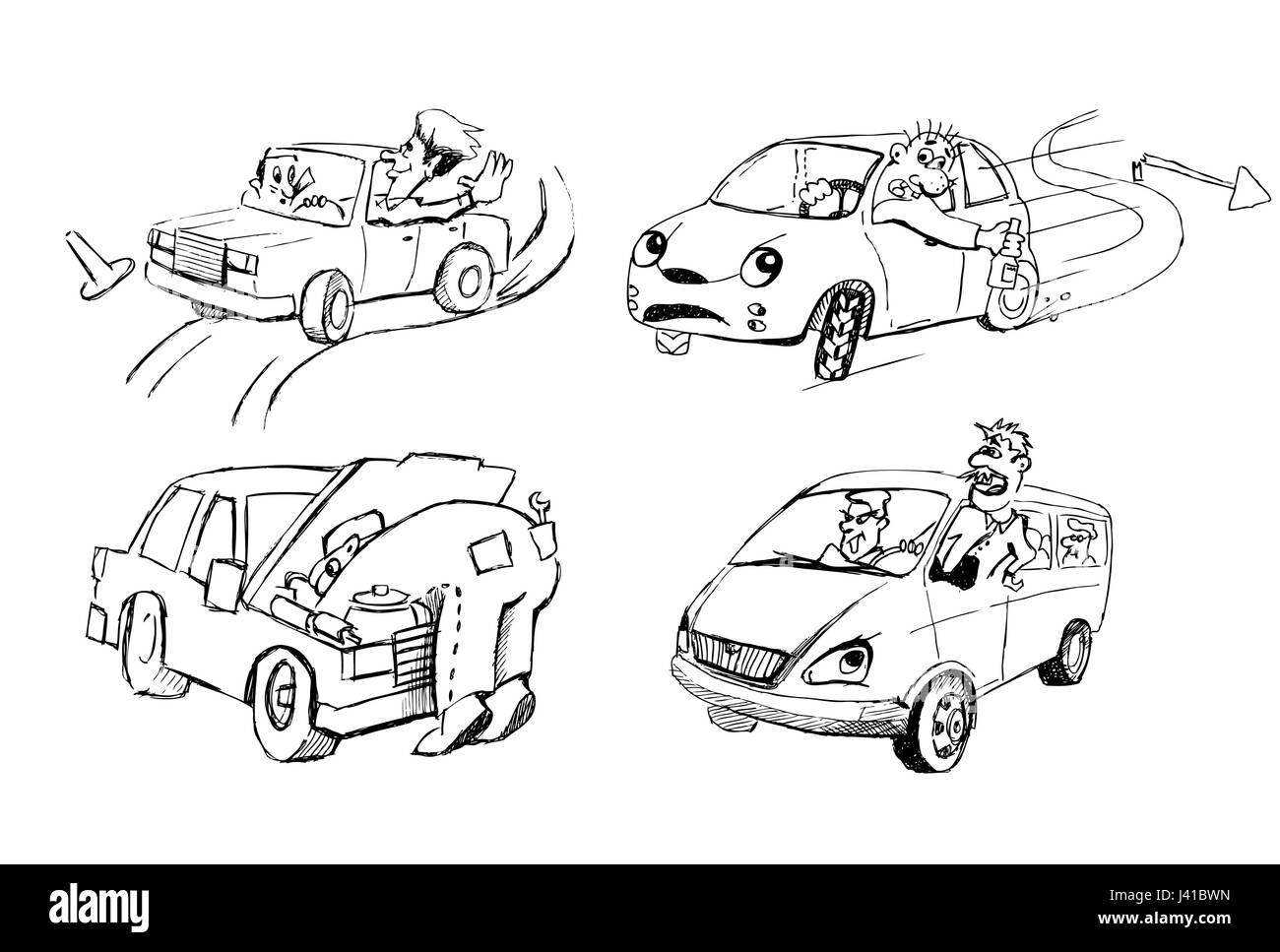 Funny sketches of people and cars Stock Vector