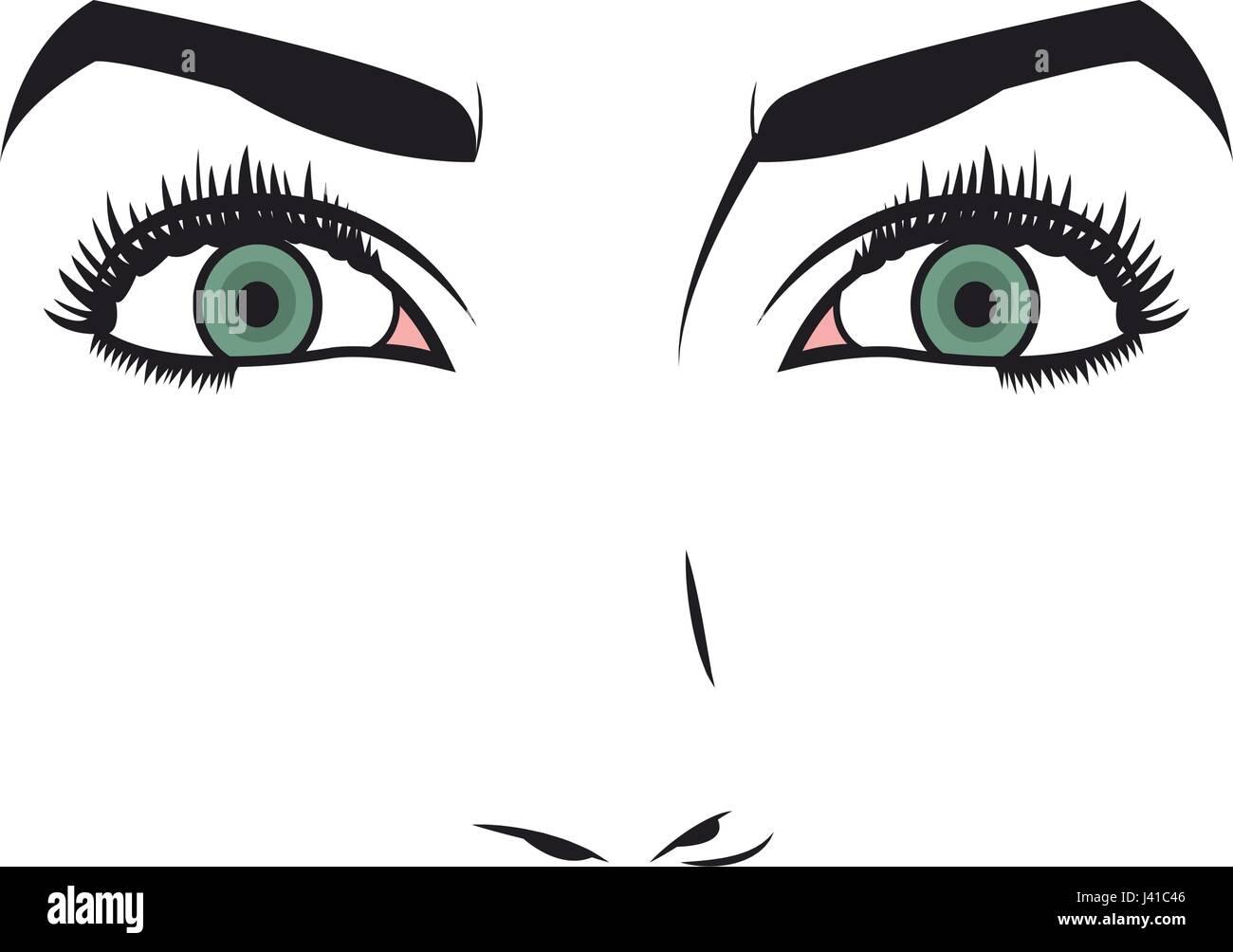 Face of young woman facial expression - Stock Vector