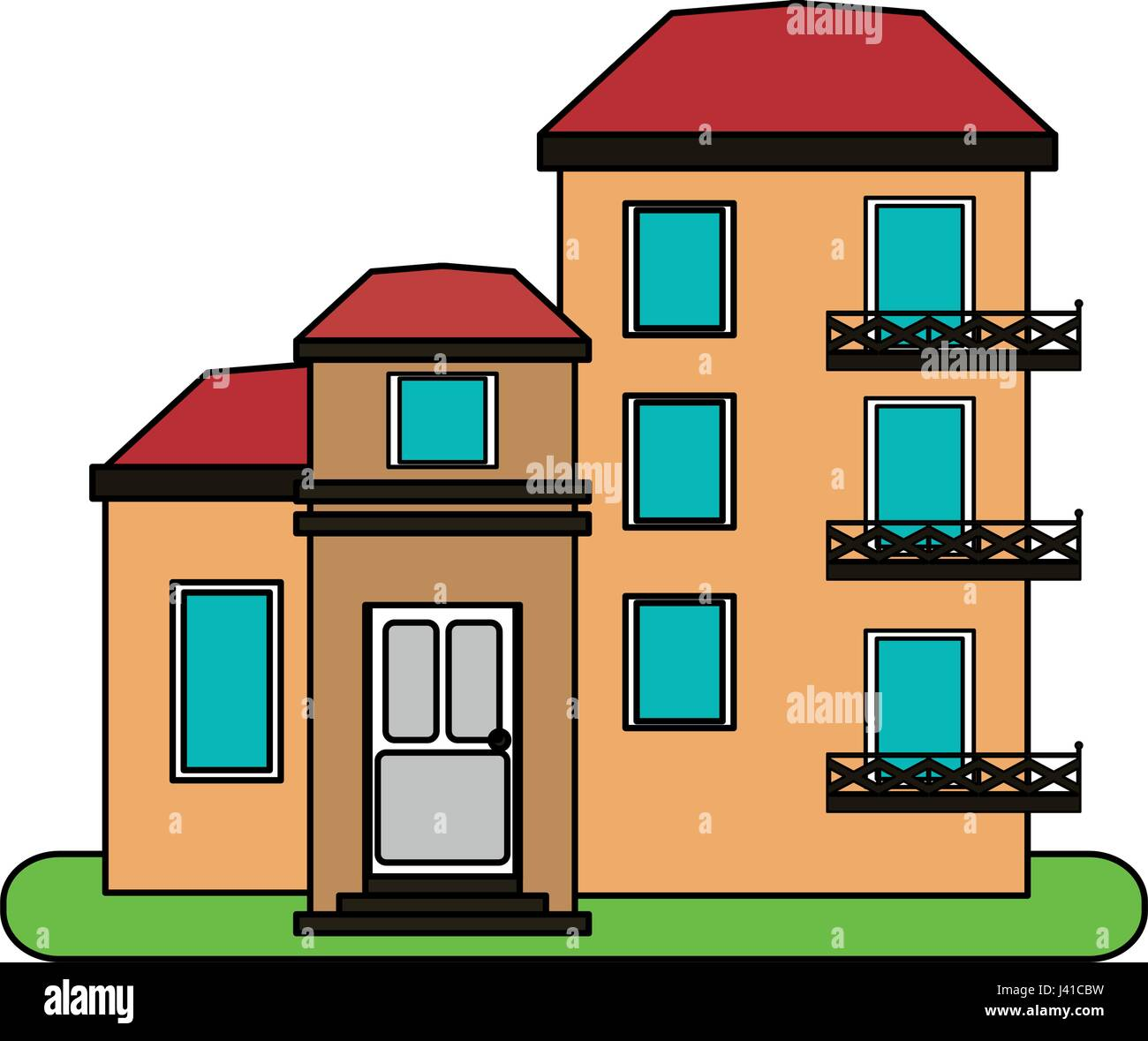 Complex Apartment For Rent: Colorful Image Cartoon Facade Comfortable Lodgings