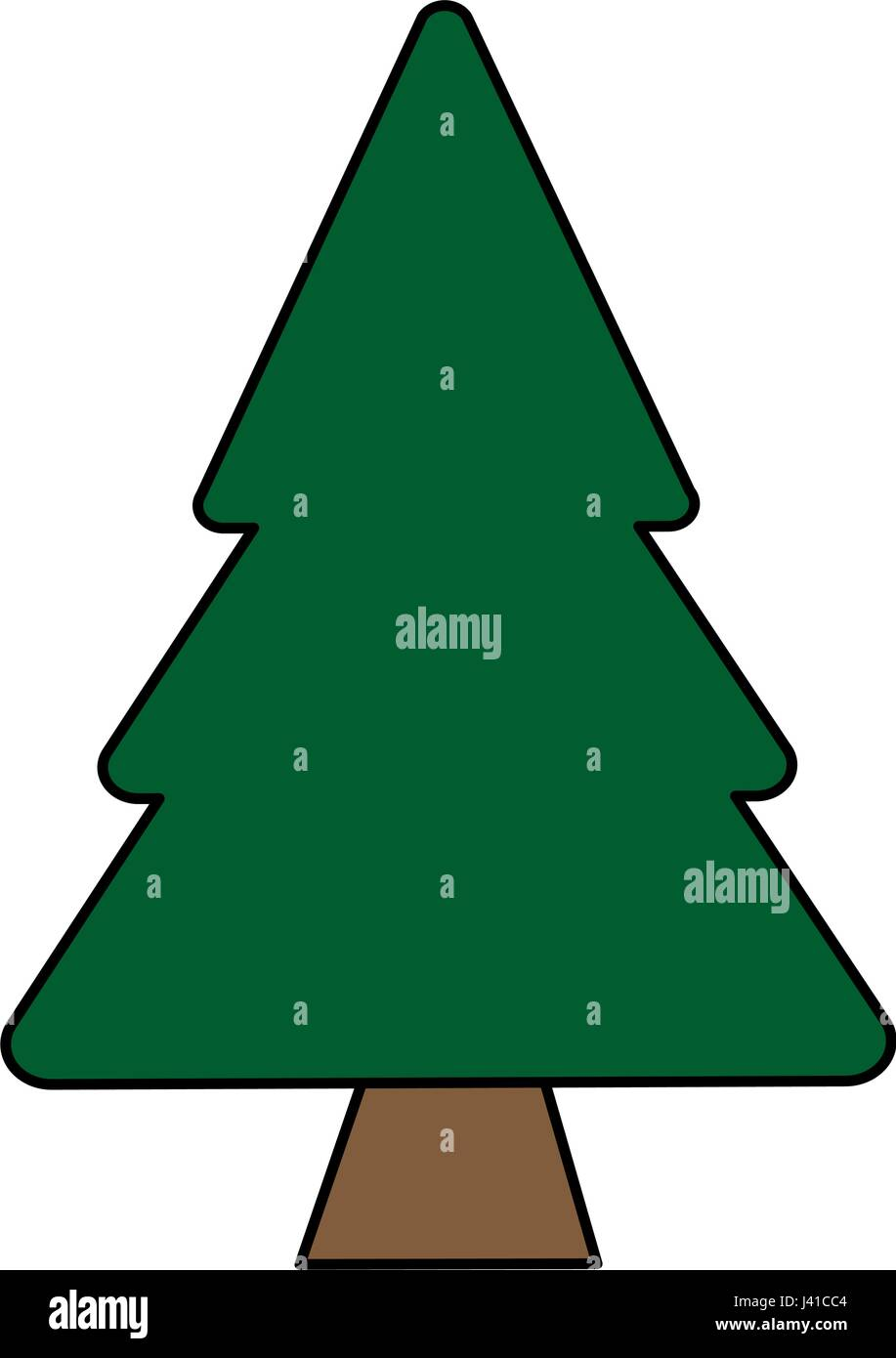 Colorful Image Cartoon Pine Tree