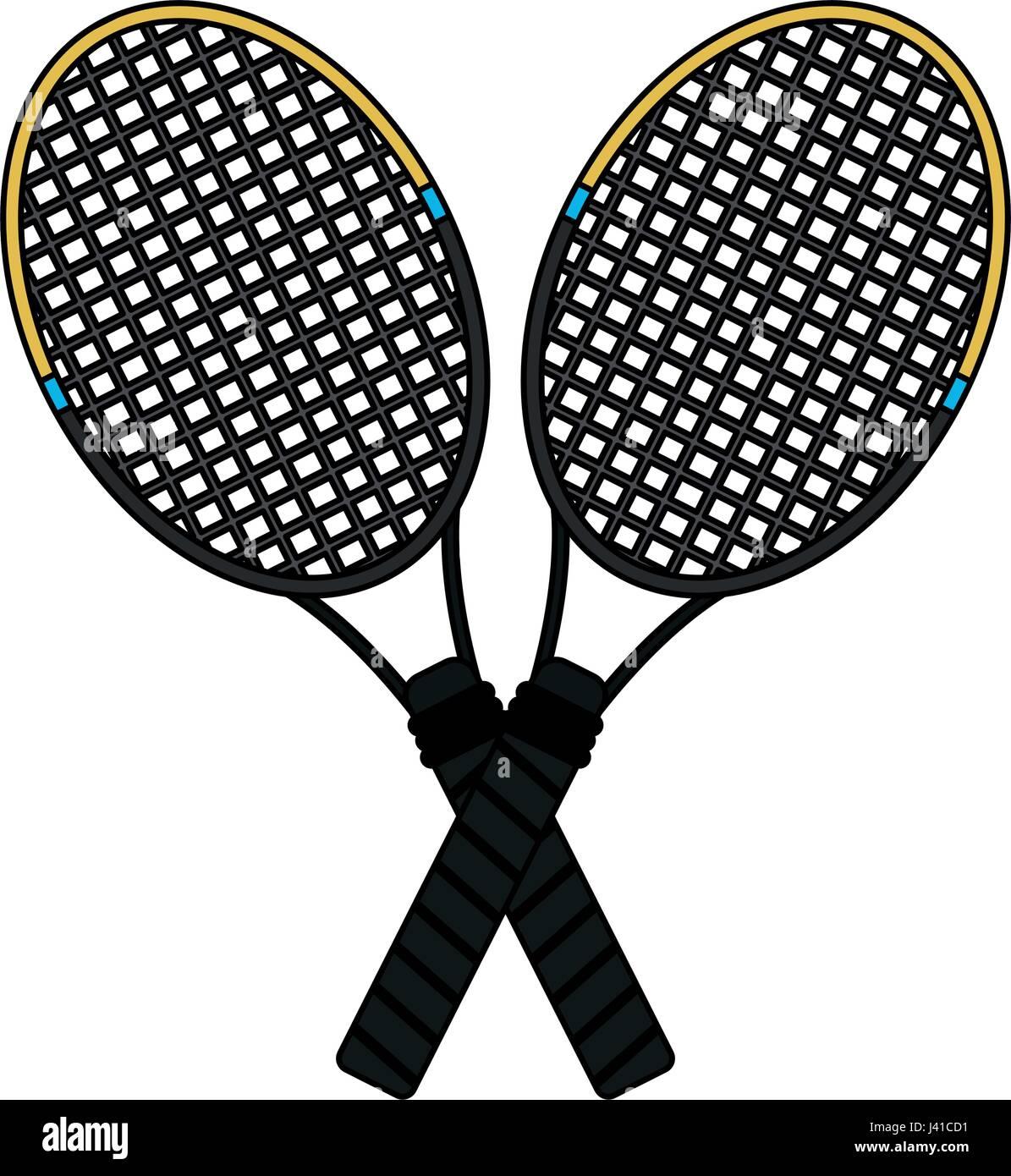 Colorful Image Cartoon Two Tennis Racquets Cross Stock Vector Image Art Alamy