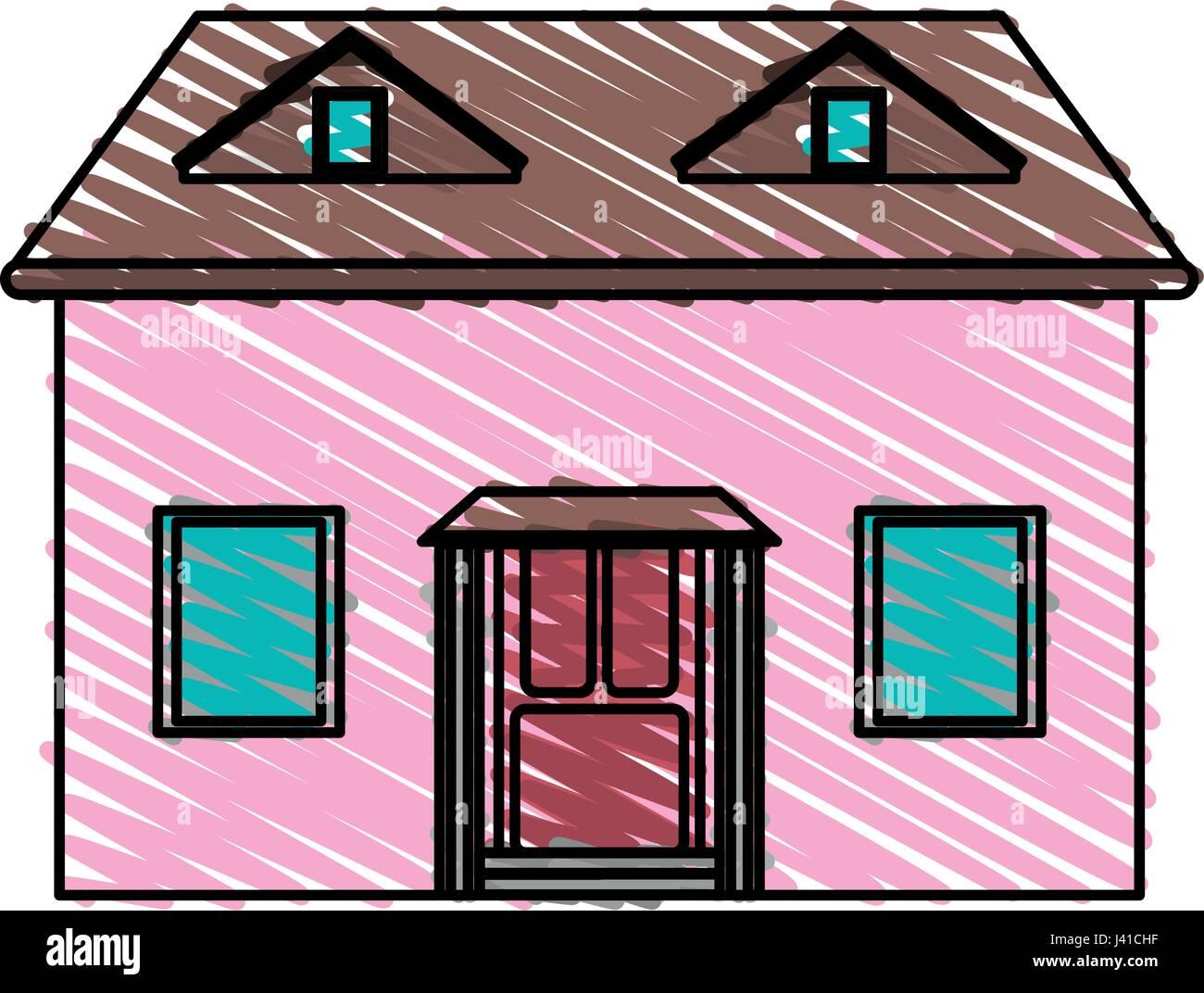 color crayon stripe cartoon facade house with attic Stock Vector Art ...