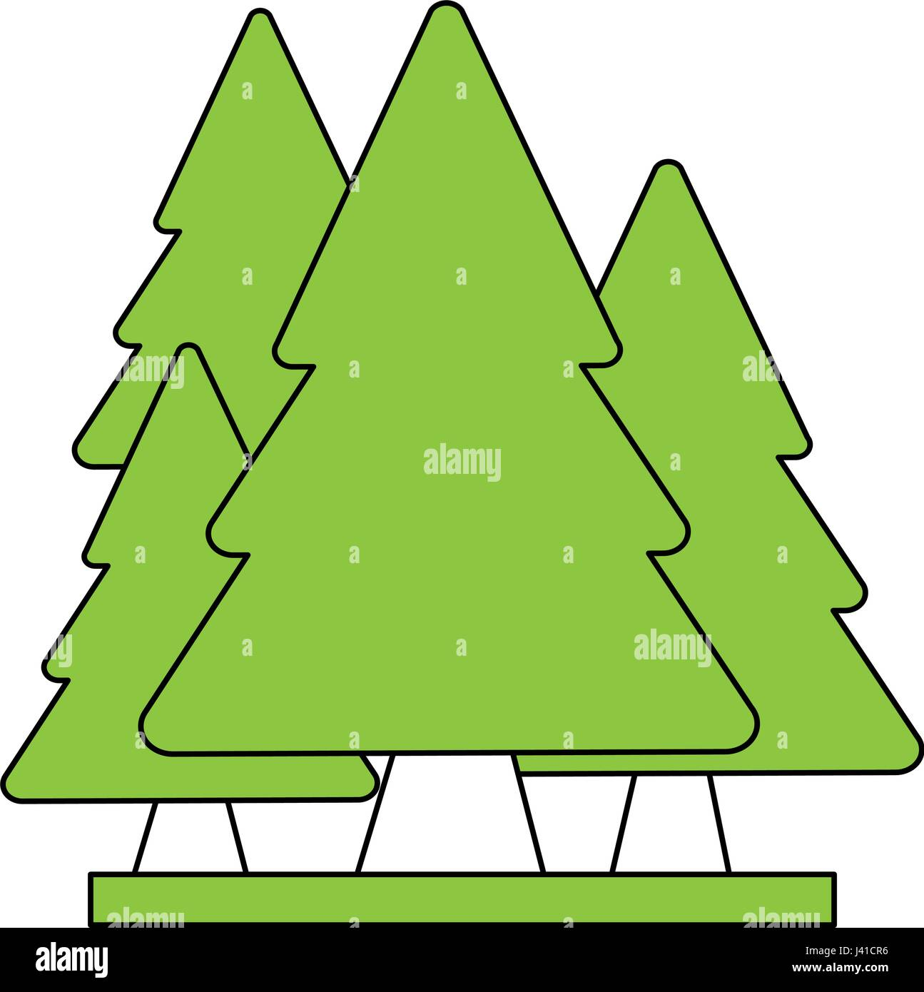 color silhouette cartoon set green pine trees Stock Vector Art ...