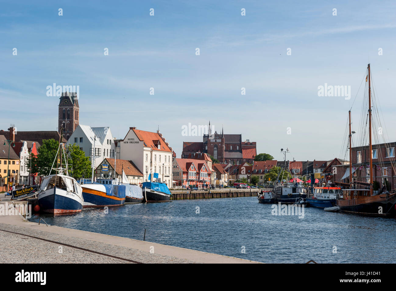 harbour, port in Wismar, Baltic Sea, Germany, Europe - Stock Image