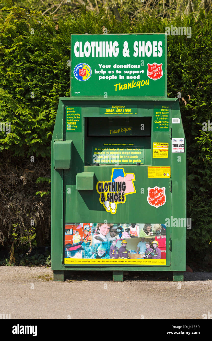 Clothing & shoes recycling bank for the Salvation Army in car park at Hampshire in May - Stock Image
