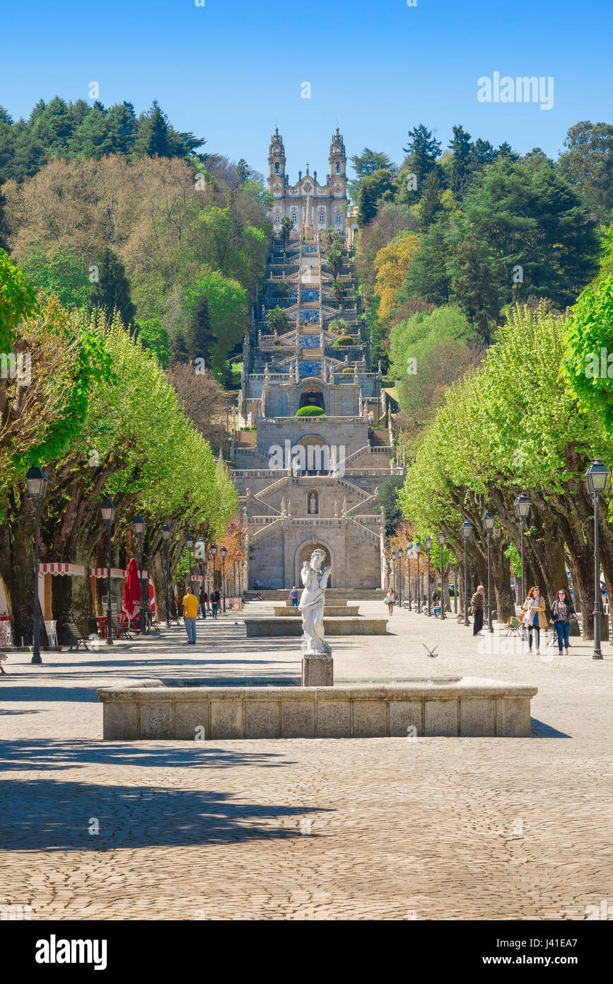 Lamego Portugal, view along the Avenida Dr A Sousa towards the Baroque stairway leading to the church of the Santuario - Stock Image