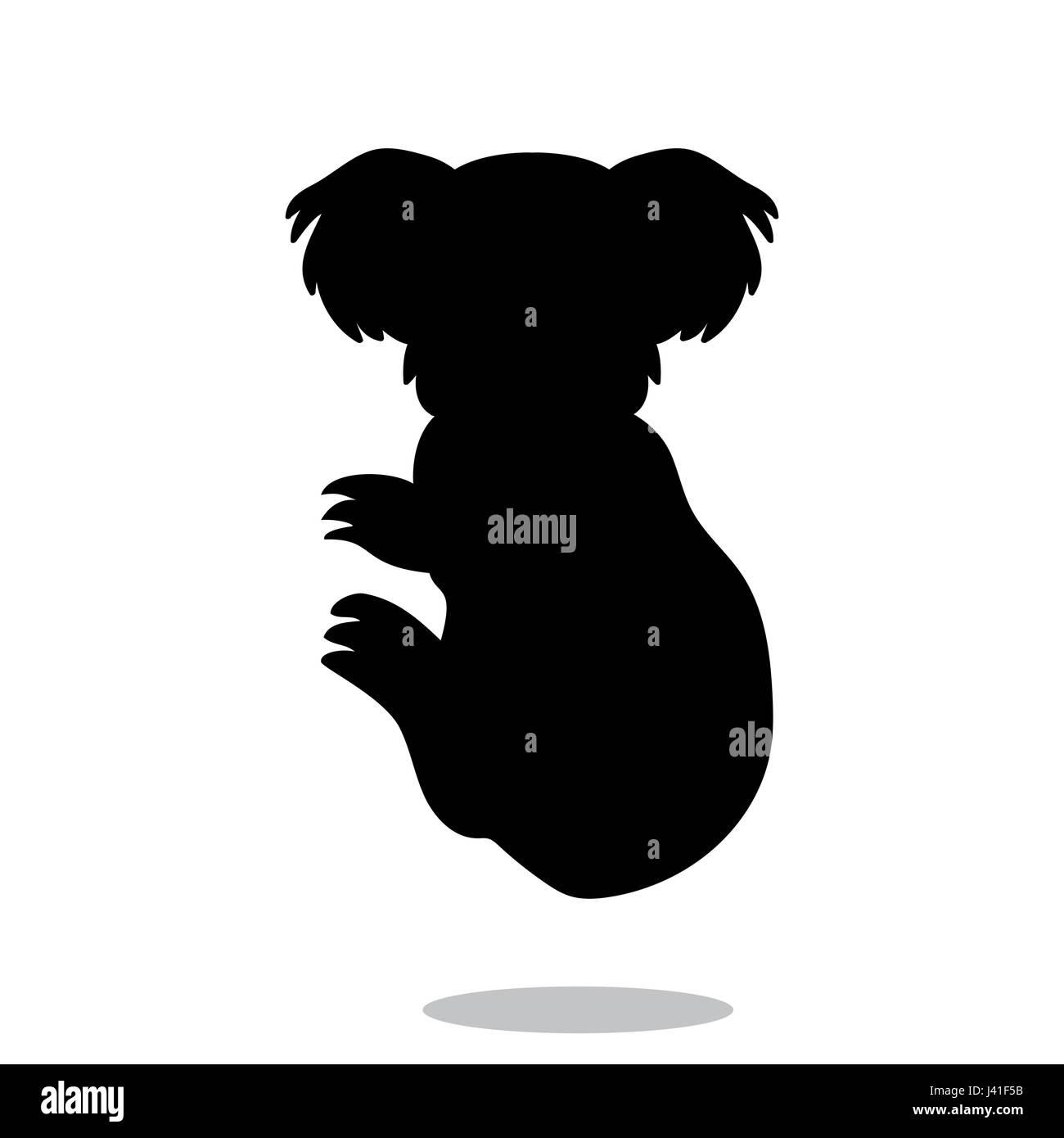 Koala marsupial mammal black silhouette animal - Stock Image