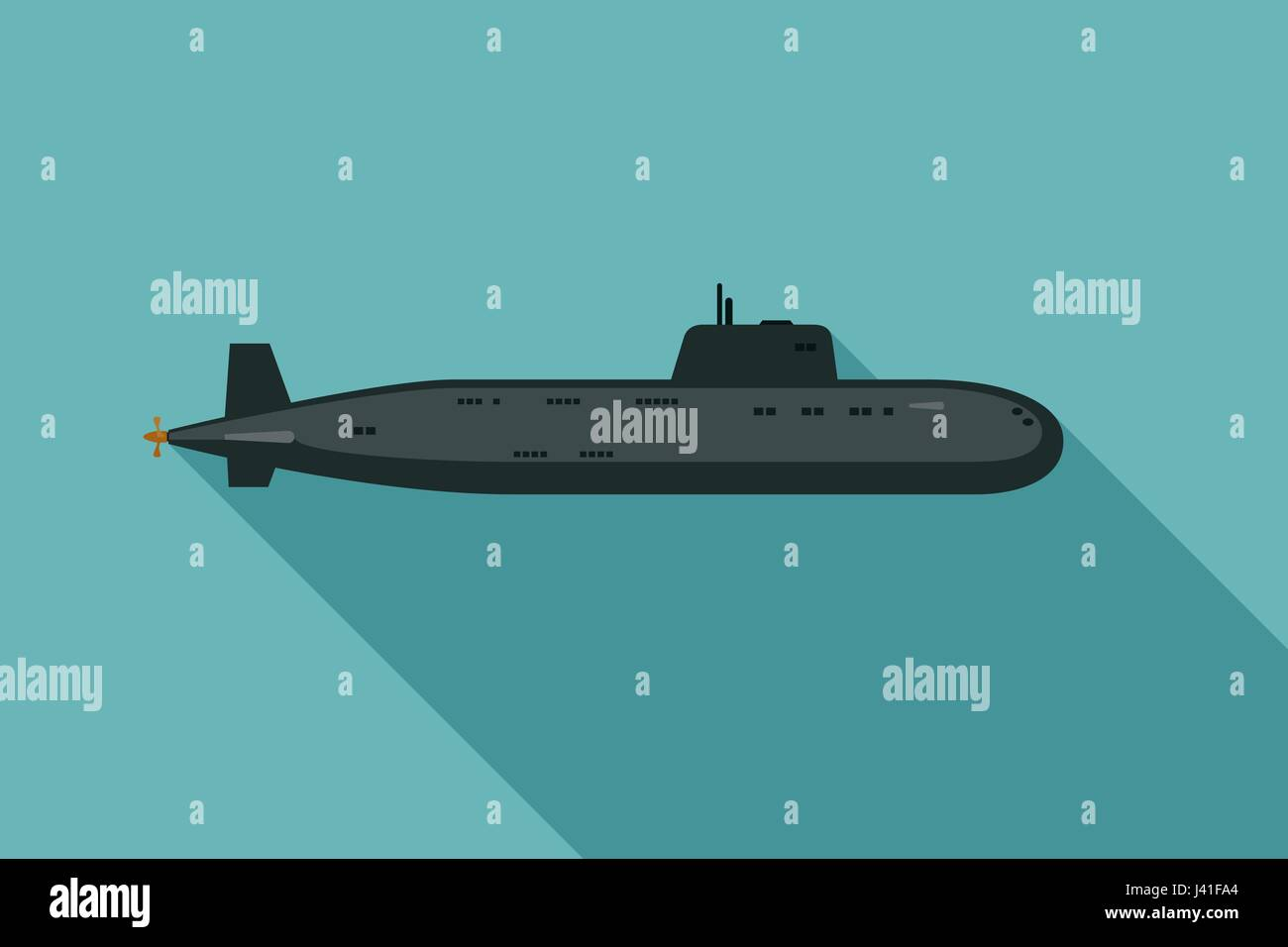 Submarine with long shadow - Stock Image
