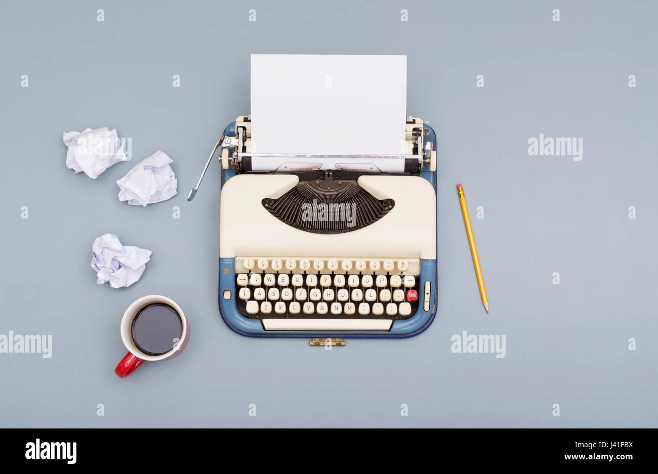 typewriter writers block concept - Stock Image