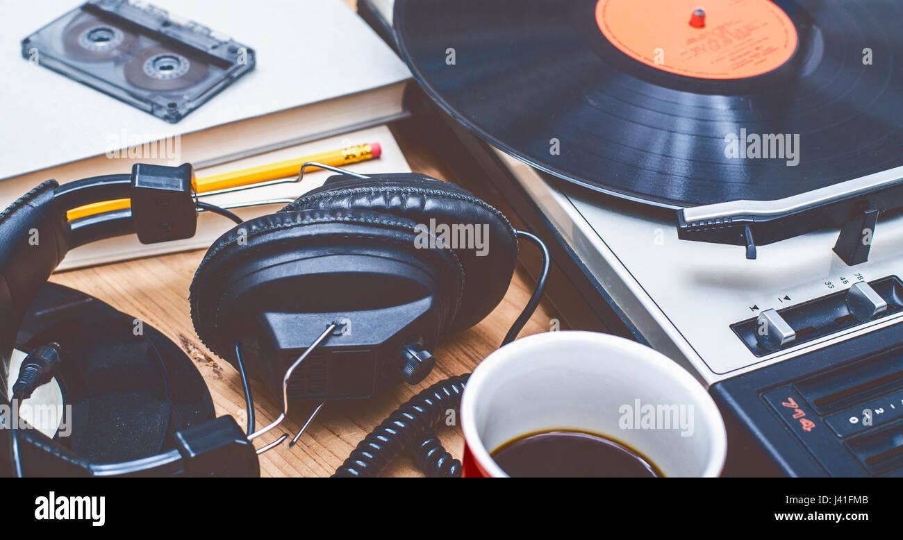 retro seventies music background - Stock Image