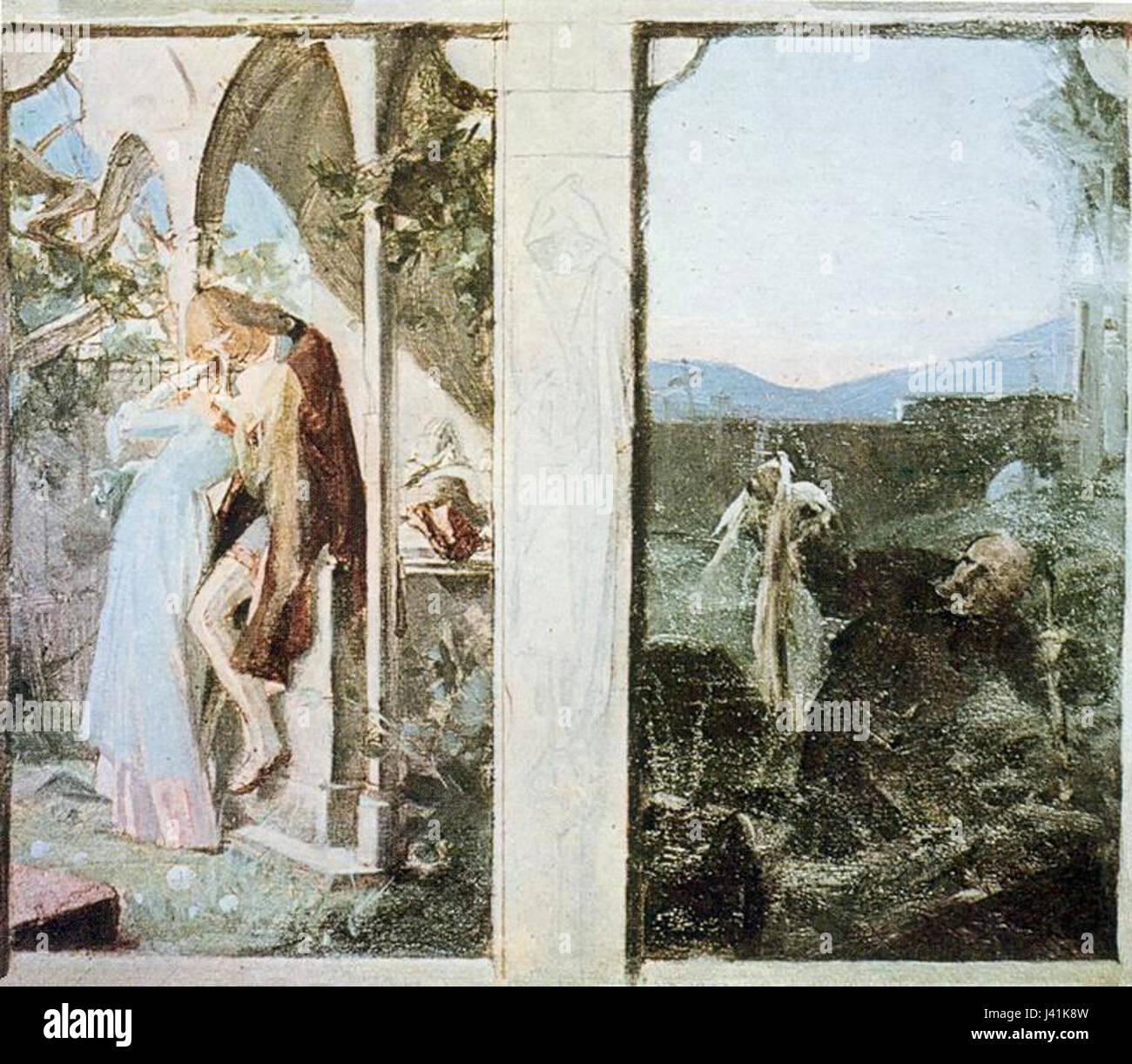 Maxmilian Pirner   milenci   hrobnik - Stock Image