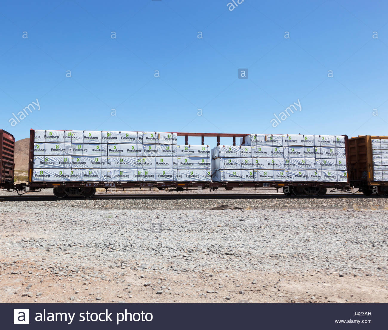 Railroad car loaded with bundled forest products  in southwestern New Mexico - Stock Image