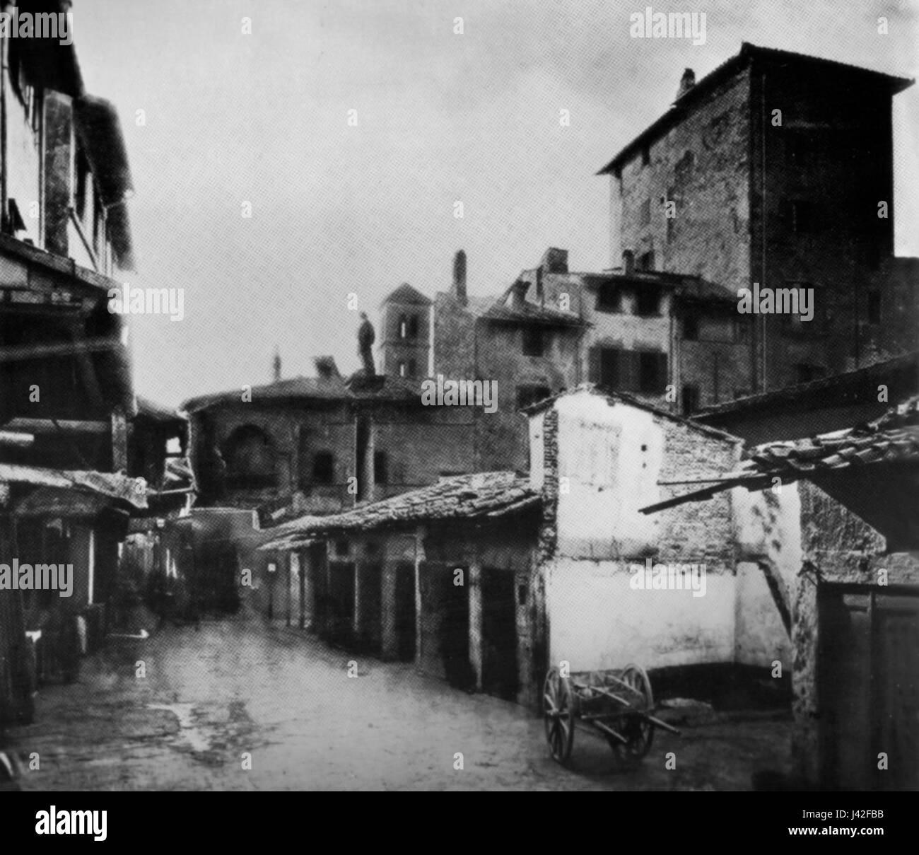 Mercato vecchio before 1881, torre dei caponsacchi - Stock Image