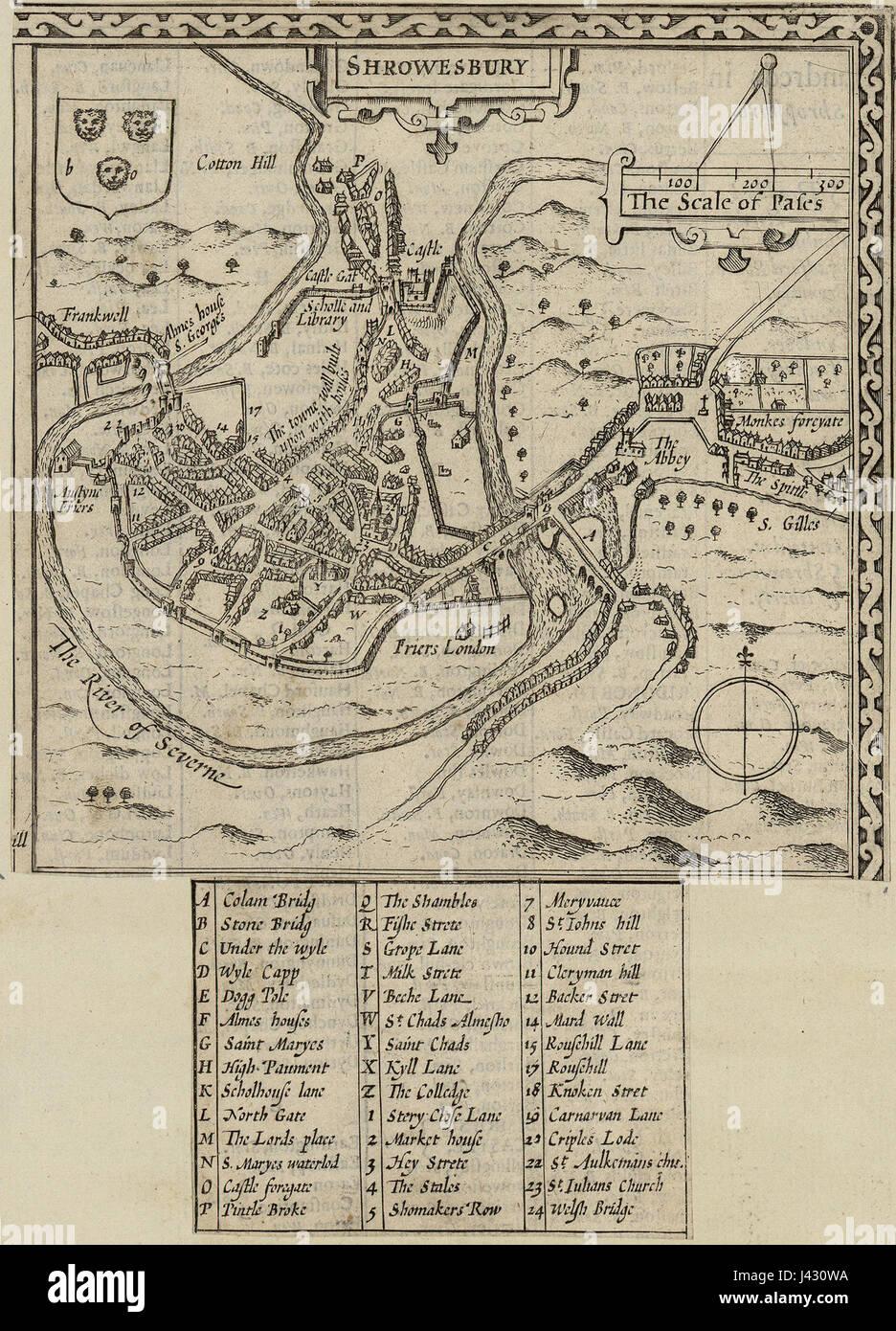 Map of Shrewsbury town 01946 Stock Photo: 140208134 - Alamy