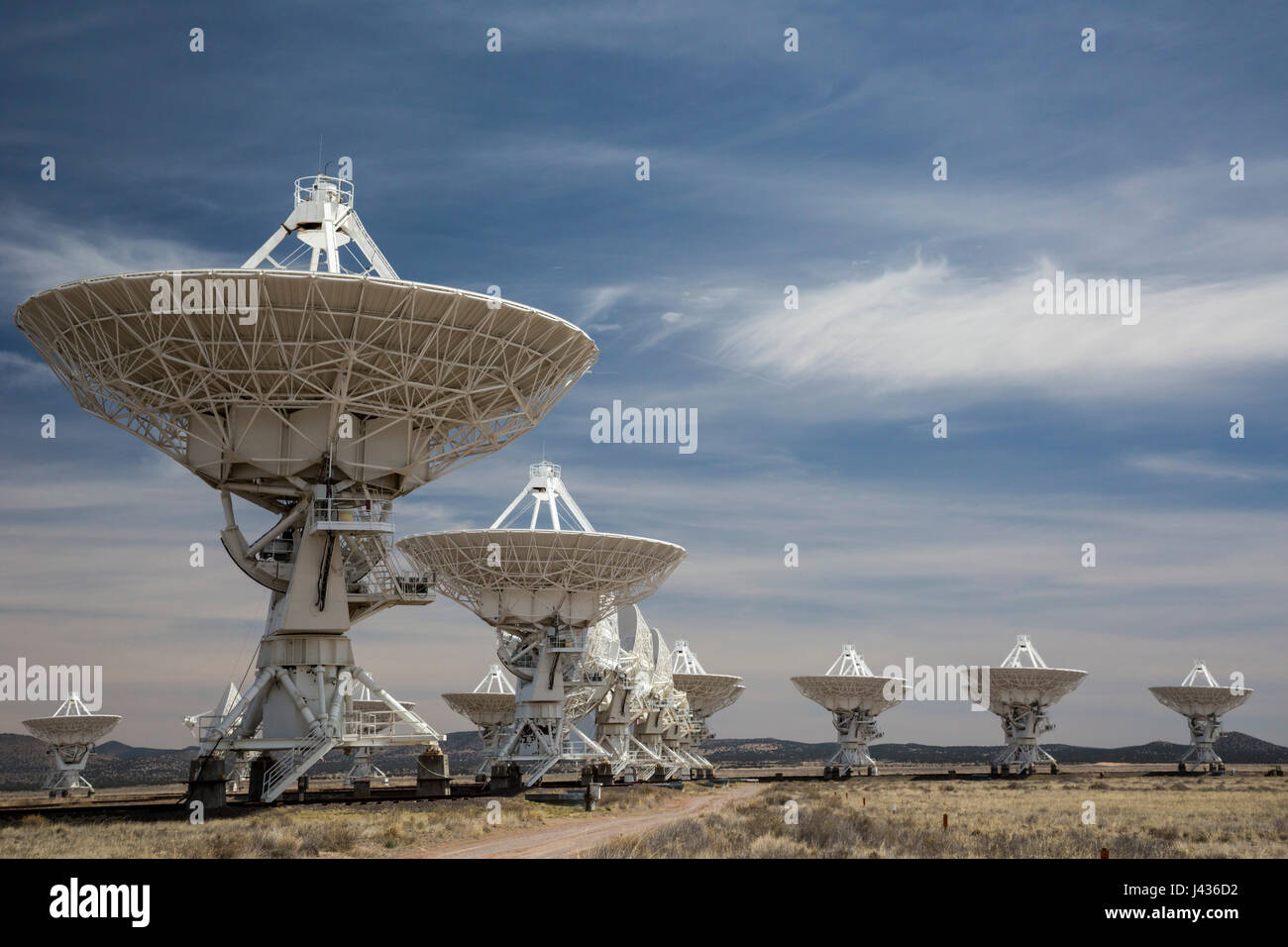 Datil, New Mexico - The Very Large Array radio telescope consists of 27 large dish antennas on the Plains of San Stock Photo
