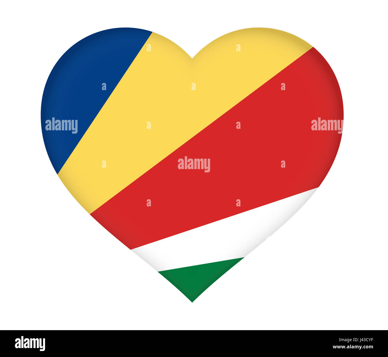 Illustration of the flag of Seychelles shaped like a heart. - Stock Image