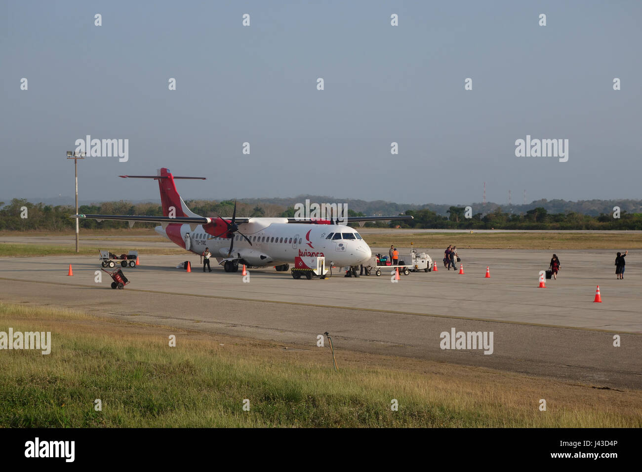 An ATR 72 twin-engine turboprop short-haul regional airliner manufactured by the French-Italian aircraft manufacturer - Stock Image