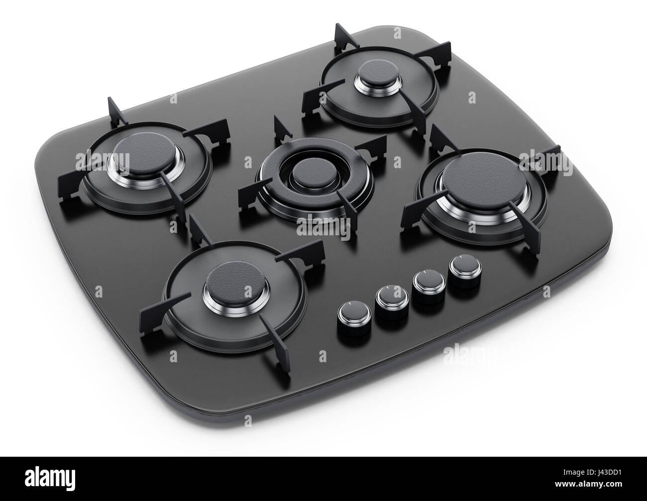 Modern stove isolated on white background. 3D illustration. - Stock Image