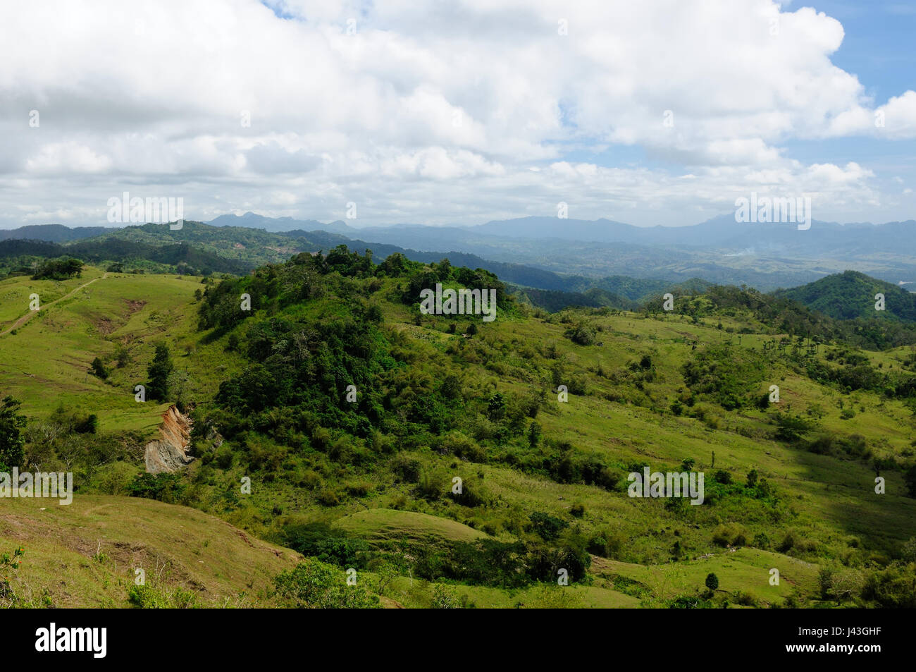 Typical hills landscape on an island Timor in Indonesia - Stock Image