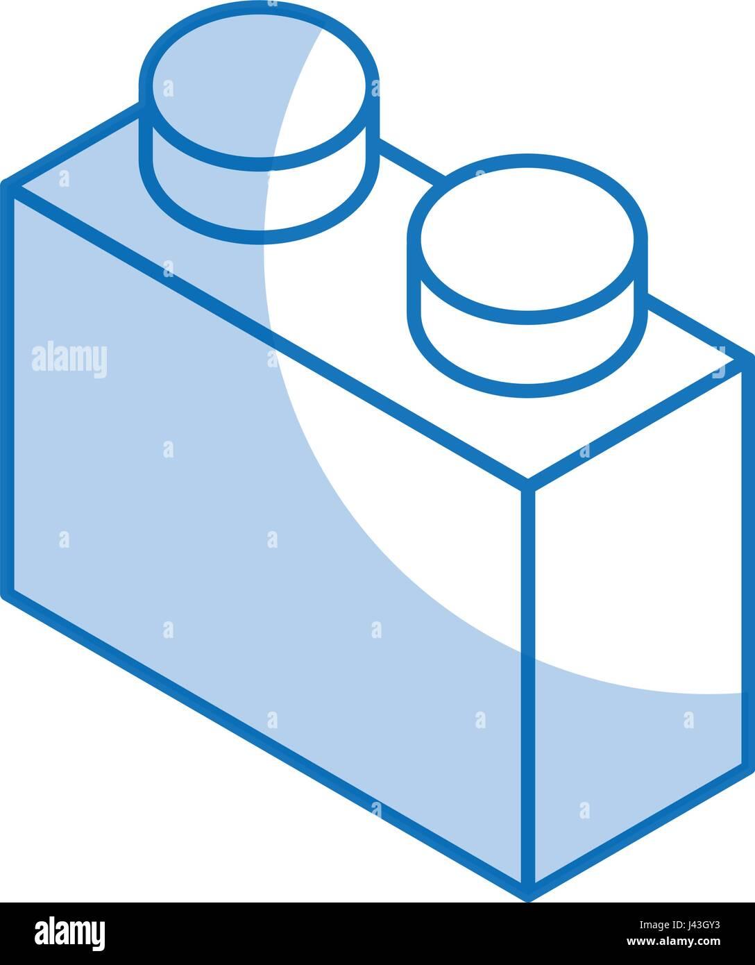 isometric block game piece - Stock Image