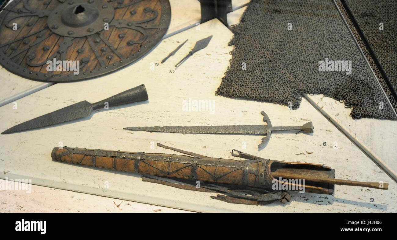 Scandinavia. Middle Ages. Dagger, Vestre Slidre, Oppland, 15th-16th century. Arrow for crossbow. Lesja, Gudbrandsdal, - Stock Image