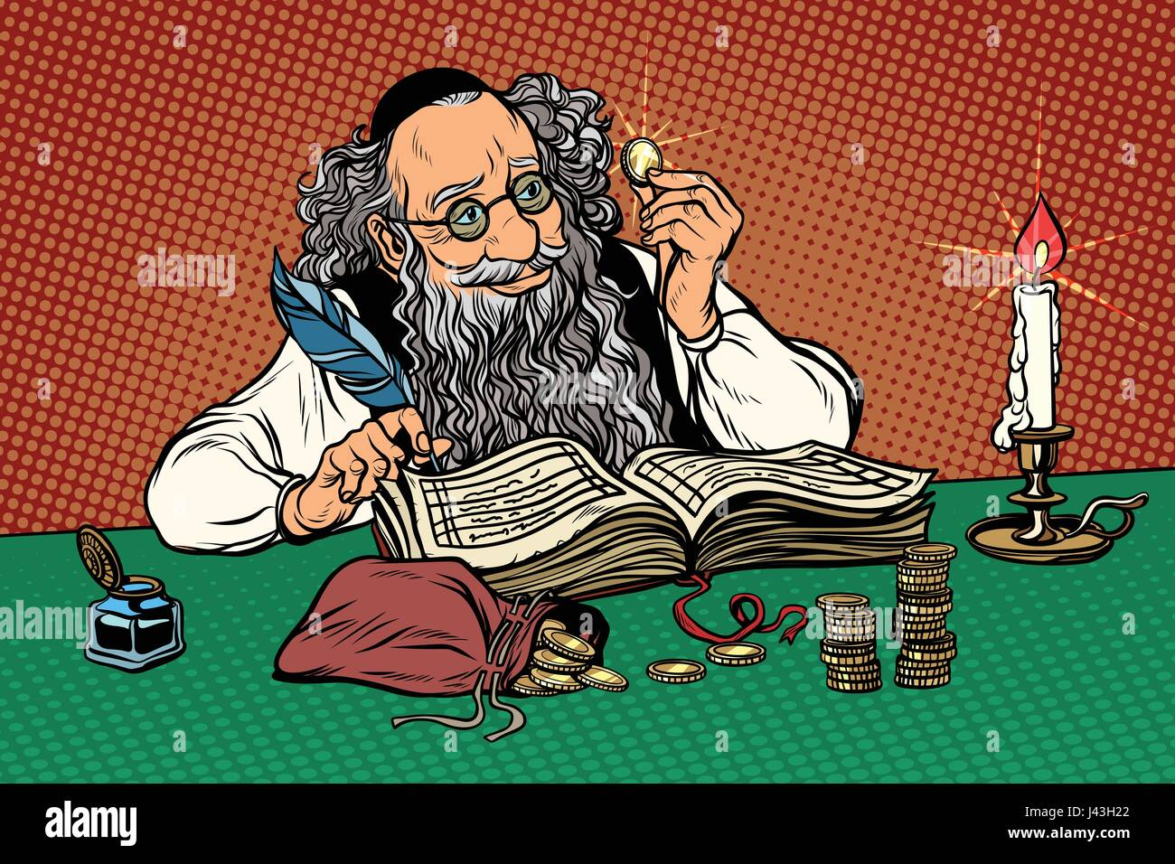 Old Jew with coins - Stock Vector