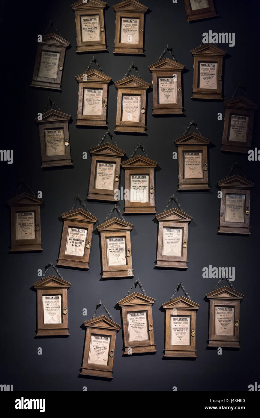 Educational Decrees, Making of Harry Potter, Warner Bros. Studio Tour, Leavesden, London - Stock Image