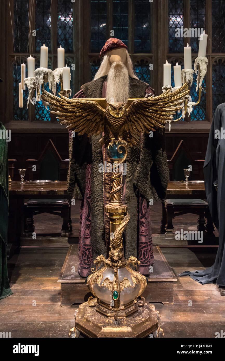 Albus Dumbledore, Owl Lectern, Making of Harry Potter, Warner Bros. Studio Tour, Leavesden, London - Stock Image