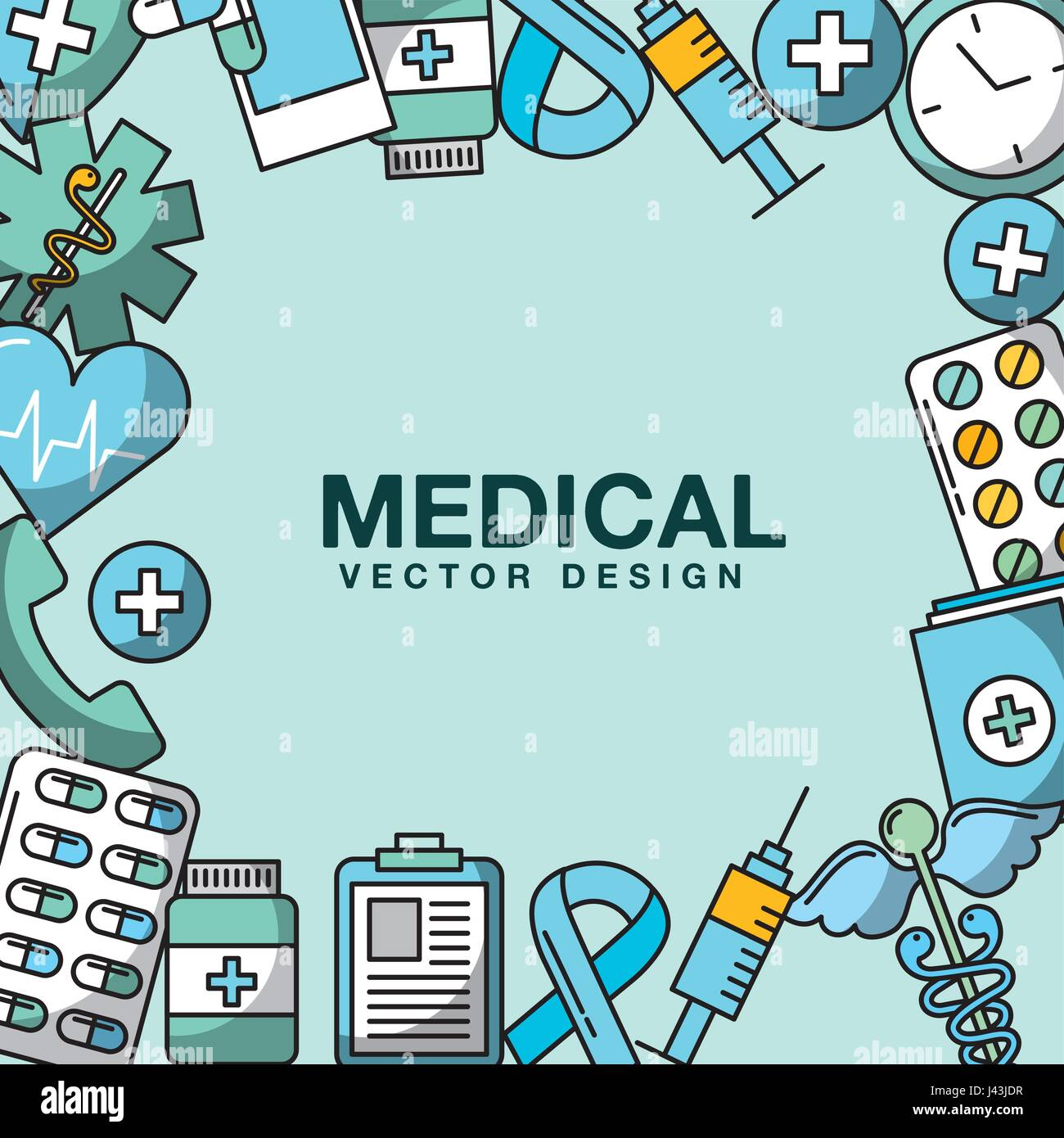 healthcare related icons image - Stock Image