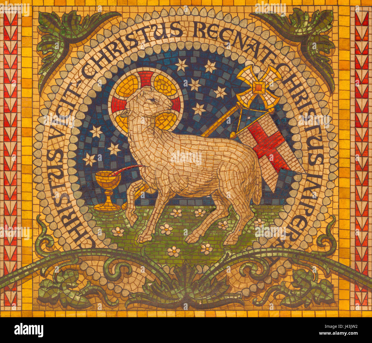 TURIN, ITALY - MARCH 15, 2017: The mosaic of Lamb of God on the altar of little chapel Capella Pinardi - the first - Stock Image