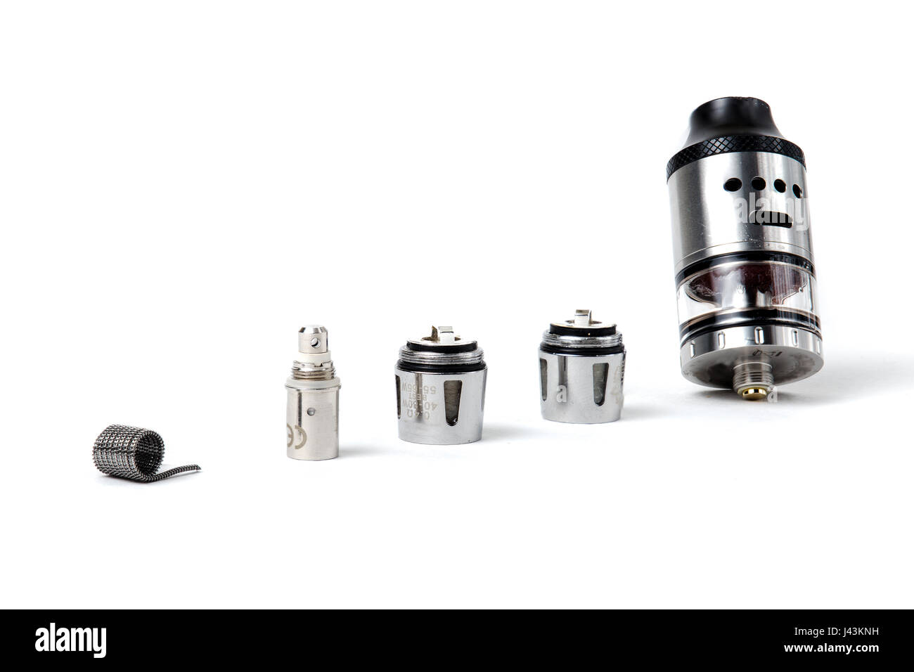 Tanks, coils and atomizers - Stock Image