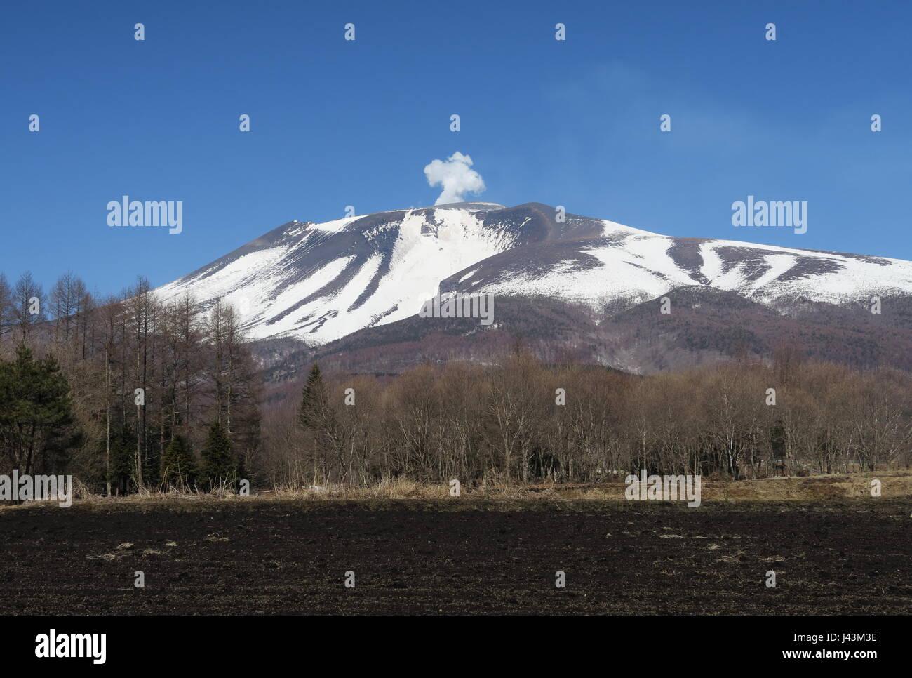 steam venting from vulcano  Karuizawa, Nagano Prefecture, Japan        February - Stock Image