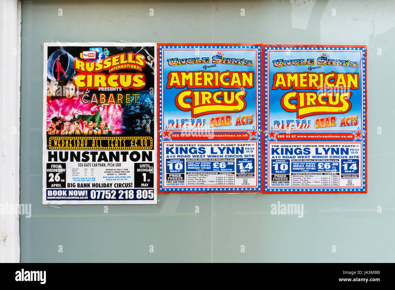 Posters advertising Russells International Circus and Uncle Sam's Great American Circus - Stock Image