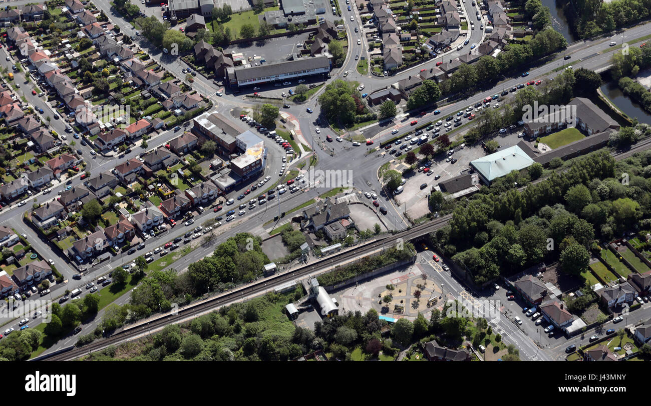 aerial view of cars waiting at a traffic lights, UK - Stock Image