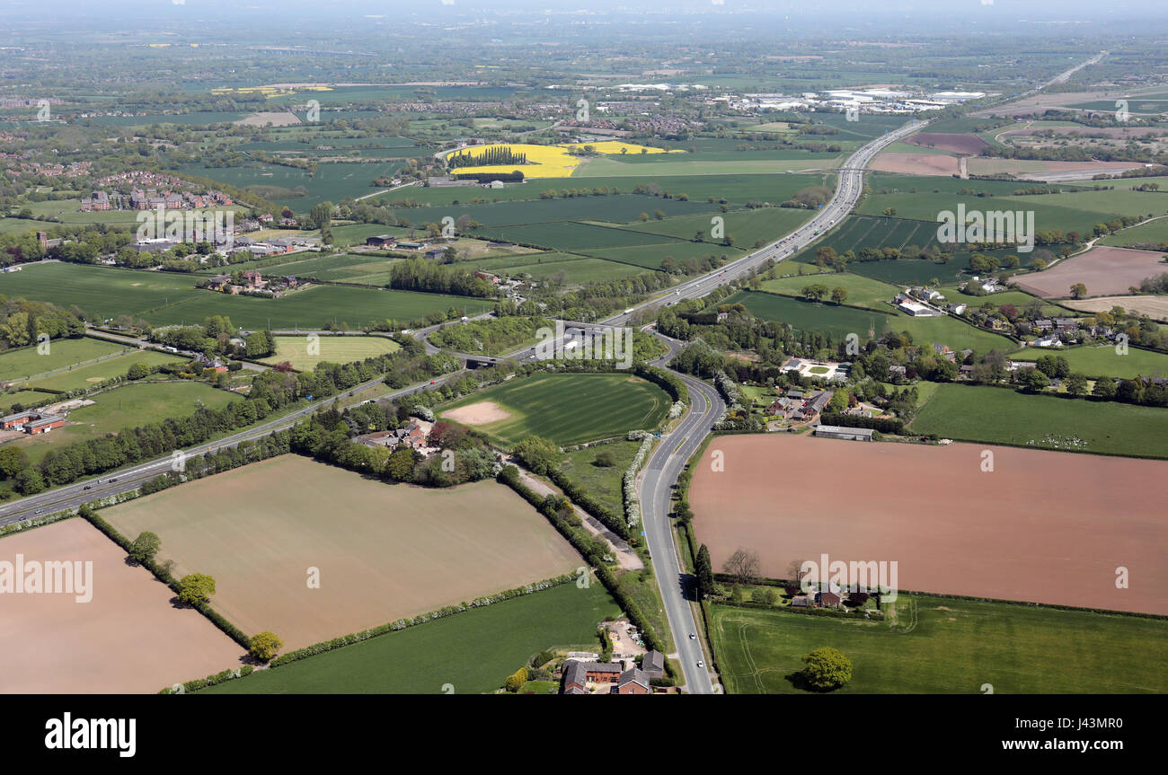 aerial view of the M56 motorway at Stretton, Cheshire, UK - Stock Image